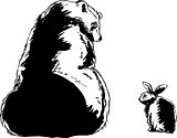 Outlined brown bear and little rabbit
