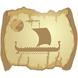 Sailing ship on the parchment