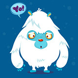 Happy cartoon yeti monster. Halloween vector monster bigfoot with white fur