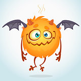 Happy cartoon monster. Halloween vector monster flying with two wings