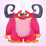 Happy cartoon pink monster. Halloween vector furry monster with two horns