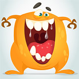 Happy cartoon yellow monster. Halloween vector monster smiling with big teeth