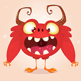 Happy cartoon red monster. Halloween vector monster with horns