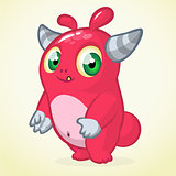 Happy cartoon monster. Halloween vector horned monster