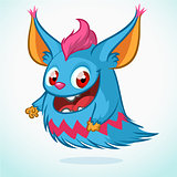 Cute cartoon monster. Halloween vector blue furry monster flying