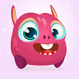 Cute cartoon monster. Halloween vector pink monster with