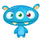Cute cartoon monster alien. Halloween vector blue alien with three eyes