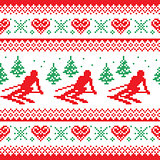 Christmas, winter red and green seamless pattern - man skiing in mountains