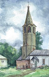 Bell tower in Russia, watercolor