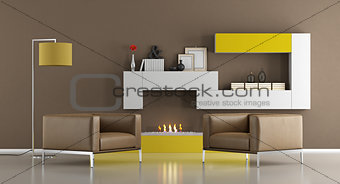 Modern living room with Bio Ethanol Fireplace