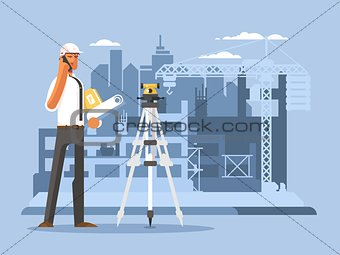 Foreman on construction flat design