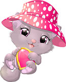 Beautiful gray kitten with heart