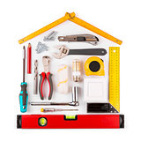 DIY - home renovation and improvement tools on white