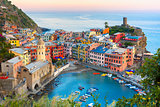Vernazza at sunset, Cinque Terre, Liguria, Italy