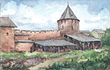 Wall of the monastery, watercolor