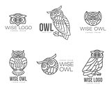 Set of black and white owl logo templates