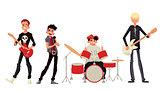 Cartoon rock group musicians vector illustration
