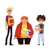 Set of isolated cartoon style nerds school boys