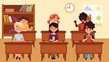 Cartoon vector illustration of school kids studying in classroom