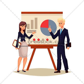 African American businessman and businesswoman holding presentation