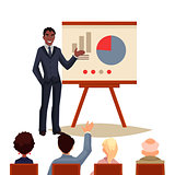 Businessman giving presentation using a board