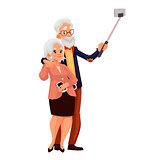 Elder grey-haired caucasian couple taking selfie