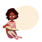 Little African American girl sitting and reading a book