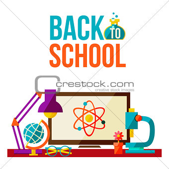 Back to school poster - computer microscope lamp globe glasses