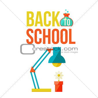 Back to school poster with table lamp and flower pot