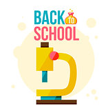 Back to school poster with yellow microscope