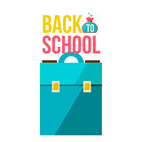 Back to school poster with briefcase