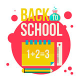 Back to school poster with notebook, pencil and ruler
