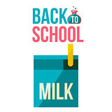 Back to school poster with milk box