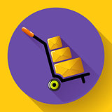 Warehouse Trolley flat 2.0 long shadow vector icon.