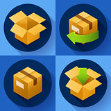 Delivery and free return of gifts or parcels. Shipping Concept icon for store