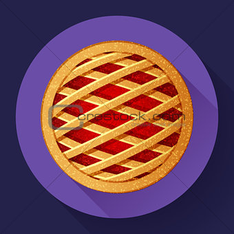 Apple Pie vector icon Flat designed style