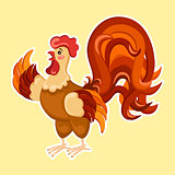 Cute cartoon rooster vector illustration. Rooster isolated on background. New Year Cock.