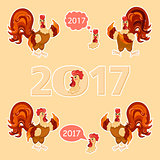 Cock big set. Cartoon style. Rooster set vector illustration, isolated.