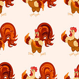 Cock cartoon pattern. Funny rooster pattern.