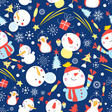 Bright Christmas pattern of snowmen
