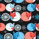 Pattern funny fox