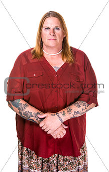 Thoughtful or Stern Transgender Woman in Pearl Necklace