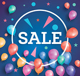 Sale poster on blue background with flying balloons and white ci