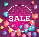 Sale poster on red background with flying balloons and white cir