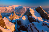 Winter Carpathian mountains; rock and a morning light