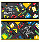 Set of back to school banners. School supplies on blackboard bac