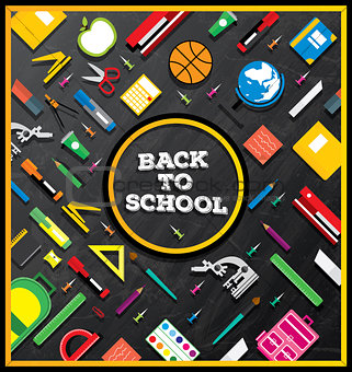 Back to school. School supplies on blackboard background.