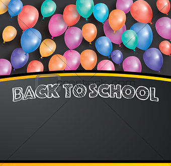 Back to school card with flying balloons and copy space.