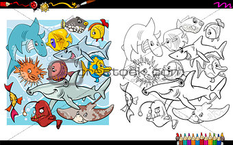 fish characters coloring book