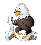 Cute eagle bookkeeper